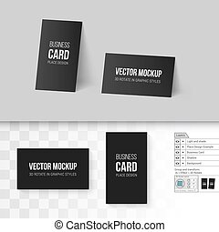 Branding Mock Up - Black Business Cards Template. Corporate...