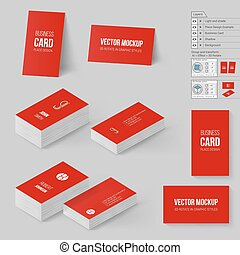 Branding Mock Up - Red Business Cards Template. Corporate...
