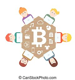 Bitcoin money translations with people  illustration vector