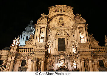 Murcia - Cathedral Church of Saint Mary in Murcia. Mixture...