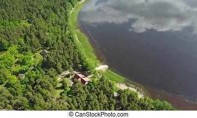 Riga lake Aerial drone top view 4K UHD video Latvia...