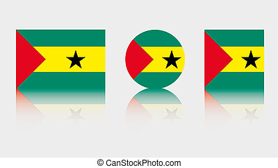 3 Flag Illustrations of the country of Sao Tome E Principe -...