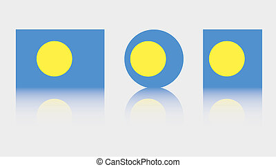 3 Flag Illustrations of the country of Palau - Three Flag...
