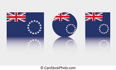 3 Flag Illustrations of the country of Cook Islands - Three...