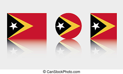 3 Flag Illustrations of the country of East Timor - Three...