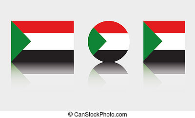 3 Flag Illustrations of the country of Sudan - Three Flag...