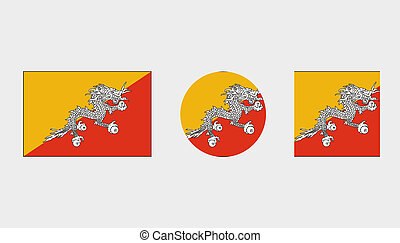 Flag Illustrations of the country of Bhutan - Flag...