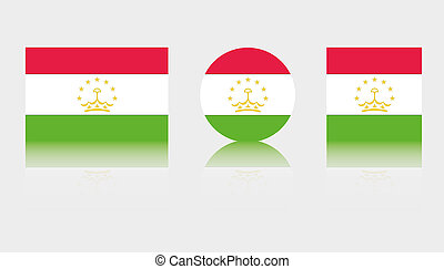 3 Flag Illustrations of the country of Tajikistan - Three...