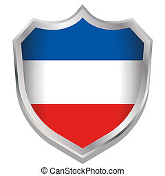 Shield Illustration with the flag for the country of...