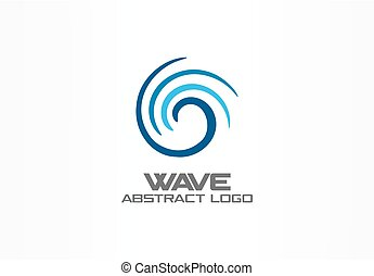 Abstract logo for business company. Eco ocean, nature, whirlpool, spa, aqua swirl Logotype idea. Water wave, spiral, blue sea concept. Colorful Vector icon