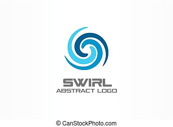 Abstract logo for business company. Eco, nature, whirlpool, spa, aqua swirl Logotype idea. Water spiral, blue circle three segment mix concept. Colorful Vector icon