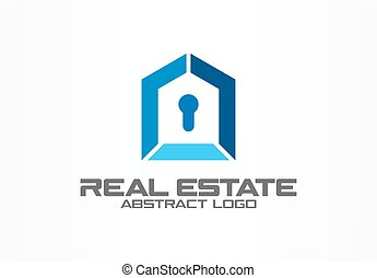 Abstract logo for business company. Corporate identity design element. Real estate, safety lock, home protection, guard logotype idea.