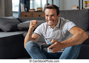 Cool joyful guy completing the level - Another win....