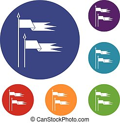 Ancient battle flags icons set in flat circle reb, blue and...
