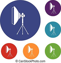 Studio lighting equipment icons set in flat circle reb, blue...