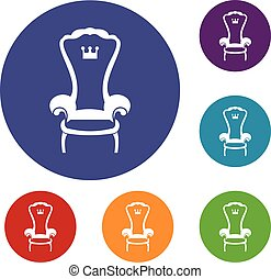 King throne chair icons set