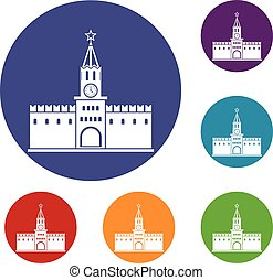 Russian kremlin icons set in flat circle reb, blue and green...