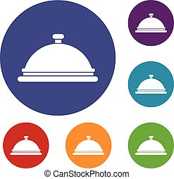 Restaurant cloche icons set in flat circle reb, blue and...