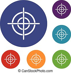 Target crosshair icons set in flat circle reb, blue and...