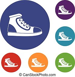 Athletic shoe icons set in flat circle reb, blue and green...