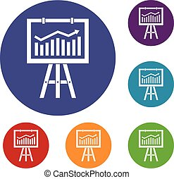 Flipchart with marketing data icons set in flat circle reb,...