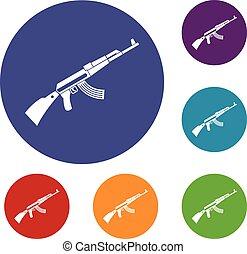 Kalashnikov machine icons set in flat circle reb, blue and...