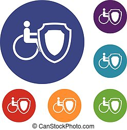 Wheelchair and safety shield icons set in flat circle reb,...