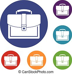 Business briefcase icons set
