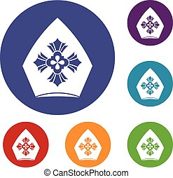 Christian hat icons set in flat circle reb, blue and green...