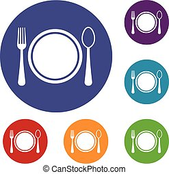 Place setting with plate,spoon and fork icons set in flat...