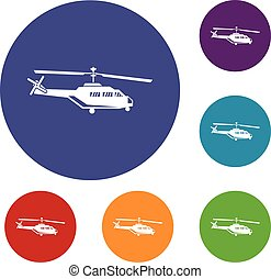 Military helicopter icons set in flat circle reb, blue and...
