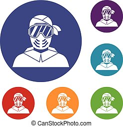 Paintball player wearing protective mask icons set in flat...