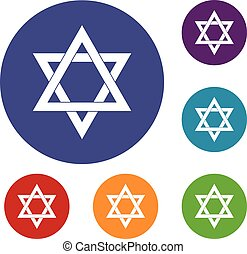 Star of David icons set in flat circle reb, blue and green...