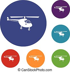 Helicopter icons set in flat circle reb, blue and green...