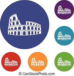 Roman Colosseum icons set in flat circle reb, blue and green...
