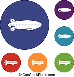 Dirigible balloon icons set in flat circle reb, blue and...