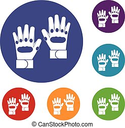Pair of paintball gloves icons set in flat circle reb, blue...