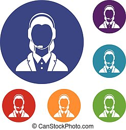 Support phone operator in headset icons set in flat circle...