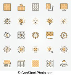 Solar energy colorful icons