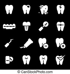 Vector white teeth icons set