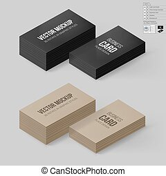 Branding Mock Up - Business Cards Template in Black and...