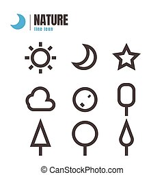 nature icons set. vector. on white background. logo. symbol. Cloud. tree, star, moon, sun