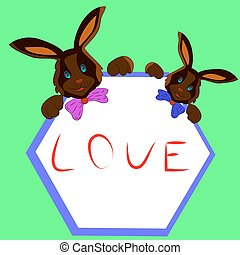 Two chocolate bunny with frame in hands, cartoon on white background.