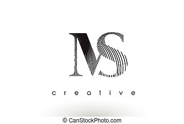 MS Logo Design With Multiple Lines and Black and White Colors.