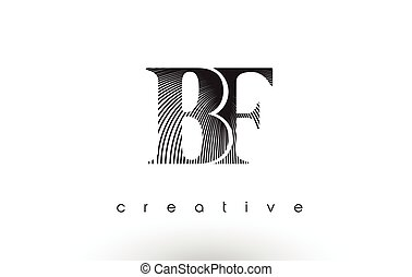 BF Logo Design With Multiple Lines and Black and White Colors.