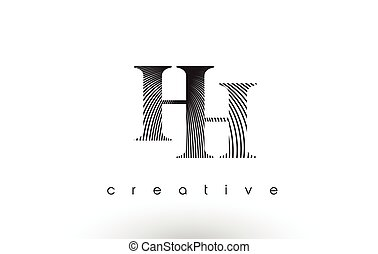 HH Logo Design With Multiple Lines and Black and White...