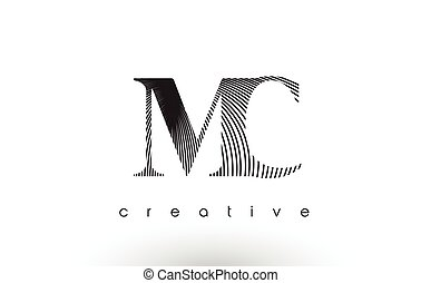 MC Logo Design With Multiple Lines and Black and White...