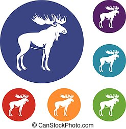 Moose icons set in flat circle reb, blue and green color for...