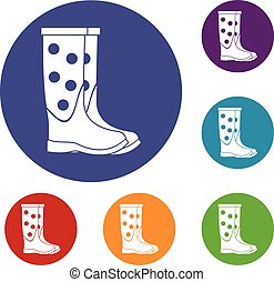 Rubber boots icons set in flat circle reb, blue and green...