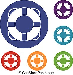 Lifeline icons set in flat circle reb, blue and green color...
